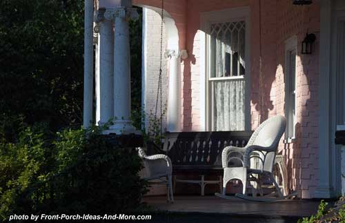 Beaufort SC front porch bathed in sunlight