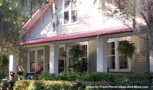 red metal roof over front porch in Beaufort SC