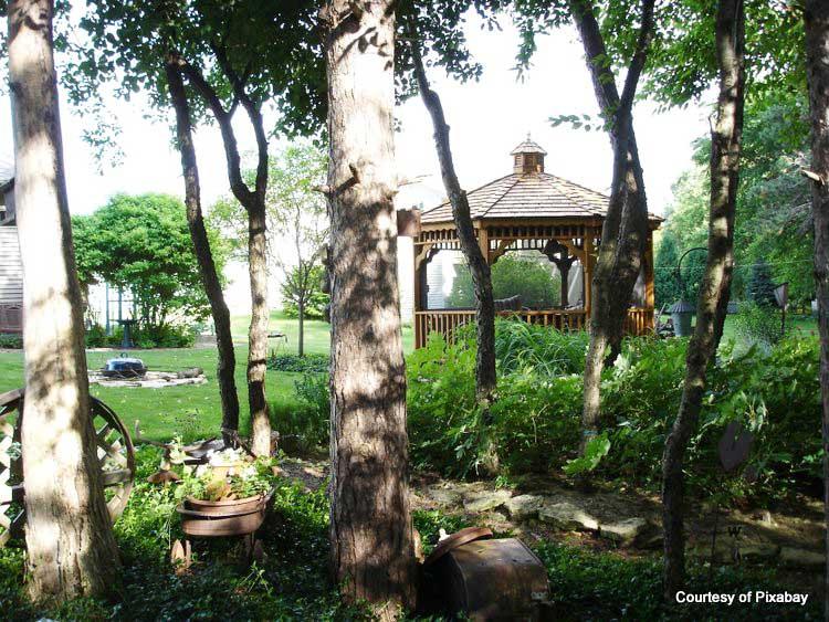 backyard gazebo in a private wooded setting
