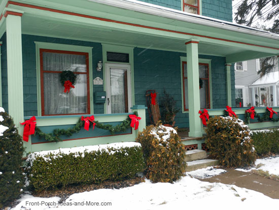 American Foursquare in Westerville OH decorated for Christmas - shown on Front Porch Ideas and More