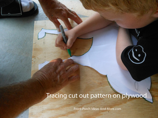tracing template onto plywood