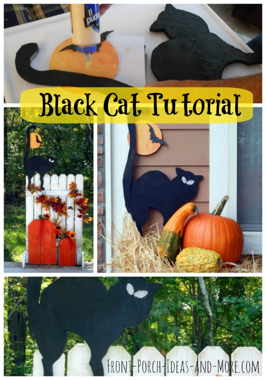 halloween black cat on front porch halloween decorating idea