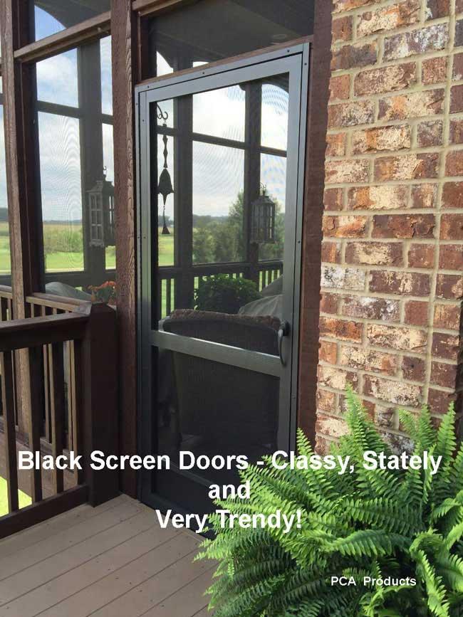 black aluminum screen door by PCA Products