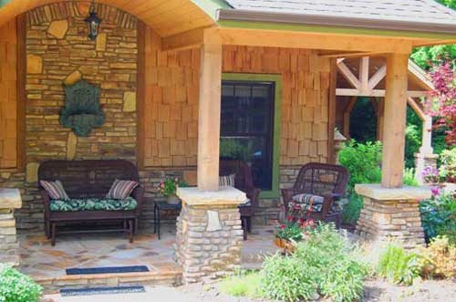 stone pedastals on front porch in Blowing Rock NC porch