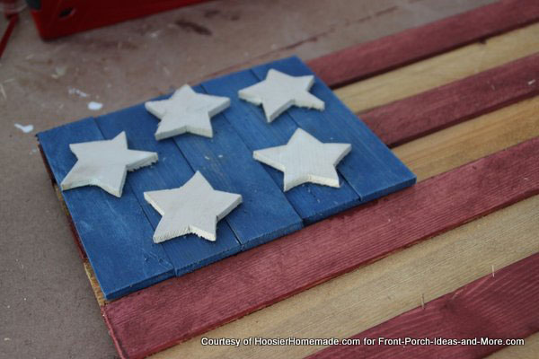 staple slats together for americana flag