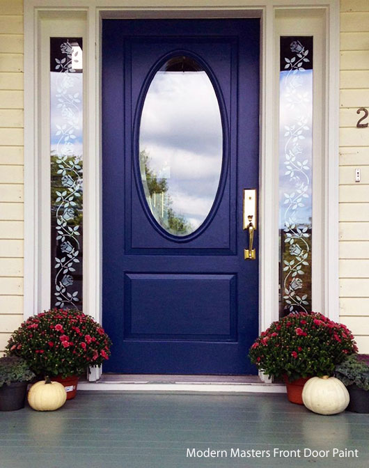 blue front door paint by Modern Masters