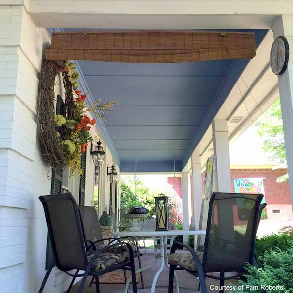 Pretty porch ceiling painted blue - courtesy of Pam Roberts