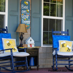 bright blue colors on front porch