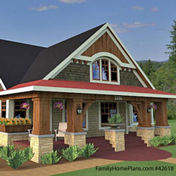 Bungalow floor plan with classic columns by Family Home Plans