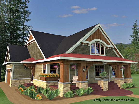 Bungalow floor plan from FamilyHomePlans.com 42618