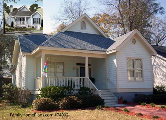Bungalow style home with small front porch from familyhomeplans.com