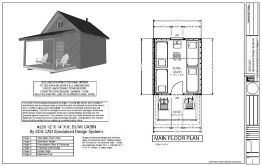 bunk cabin plan with porch