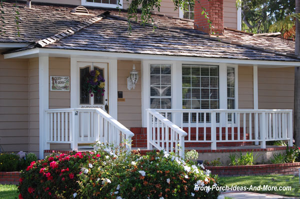 Charming hipped roof front porch in Seaside California