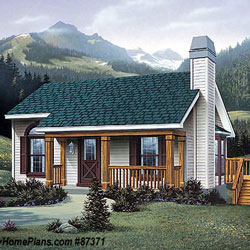 small cabin house plan with adorable front porch by Family Home Plans