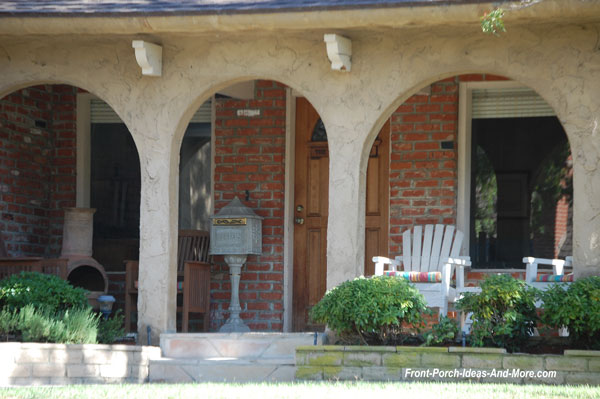 Stucco front porch with mailbox in Seaside California
