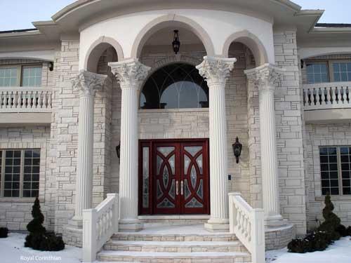 cast stone columns on elegant front porch