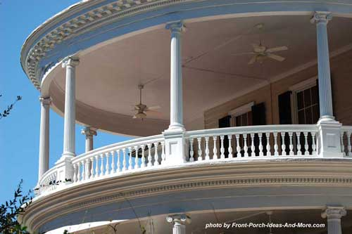 Charleston round front porch with outdoor fans