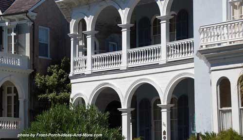 romanesque style porch columns in Charleston