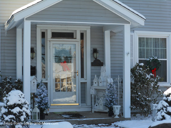 Winter beauty - snowy porch decorated lovely
