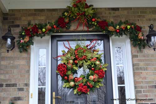 front door wreath with complementary valance