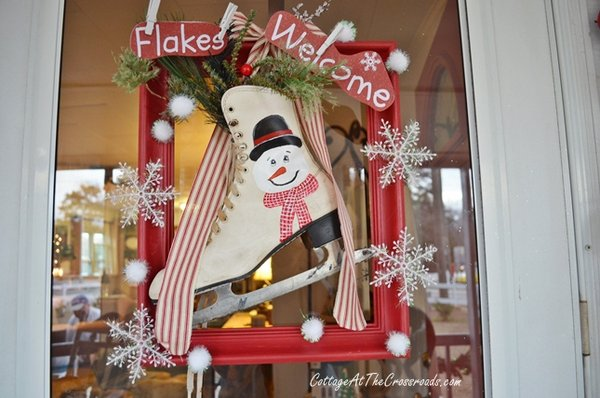 Outside Christmas decor by Cottage at the Crossroads - vintage ice skate wreath