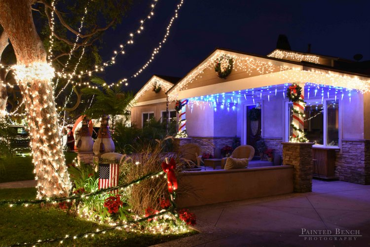 California bungalow with Christmas lights near front patio