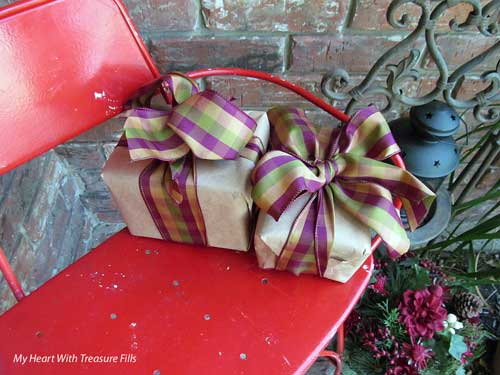 wrapped packages on bench for Christmas
