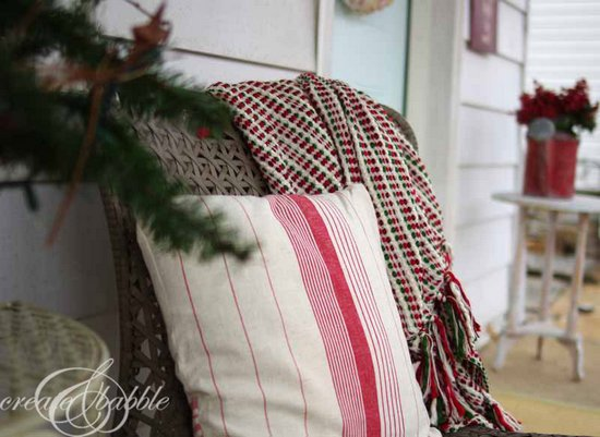 Create and Babble - red and white Christmas porch