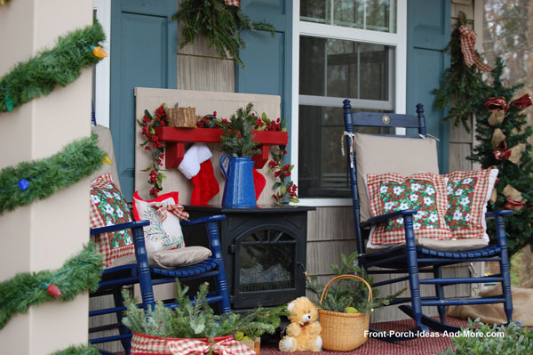 fireplace and mantel on front porch for christmas