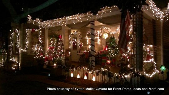 porch columns wrapped as candy canes