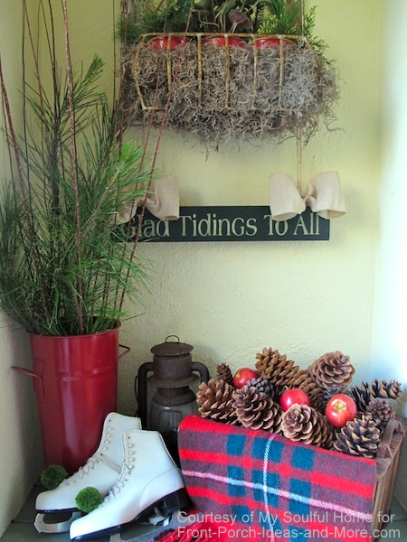 My Soulful Home - close-up of porch vignette for Christmas