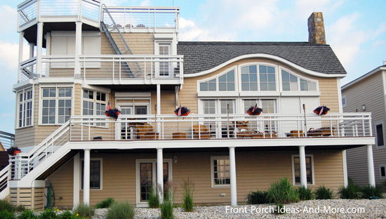 steel cable railings on beach house porch