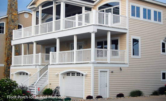 raised front porch on coastal home