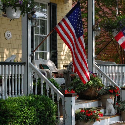 colorful small front porch in Pacific Grove California