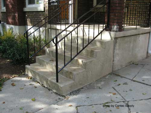 repaired concrete porch steps