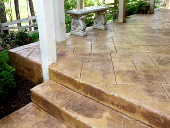 porch steps - stamped concrete