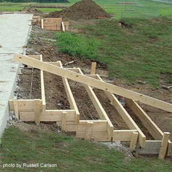 forms in place to accept concrete for porch steps