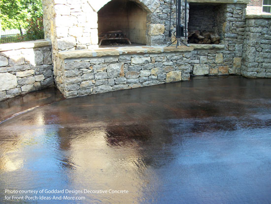 beautiful large patio stained concrete with the color umber