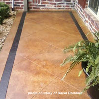 beautifully stained front porch concrete floor