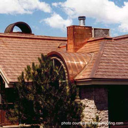 copper metal roofing material on home