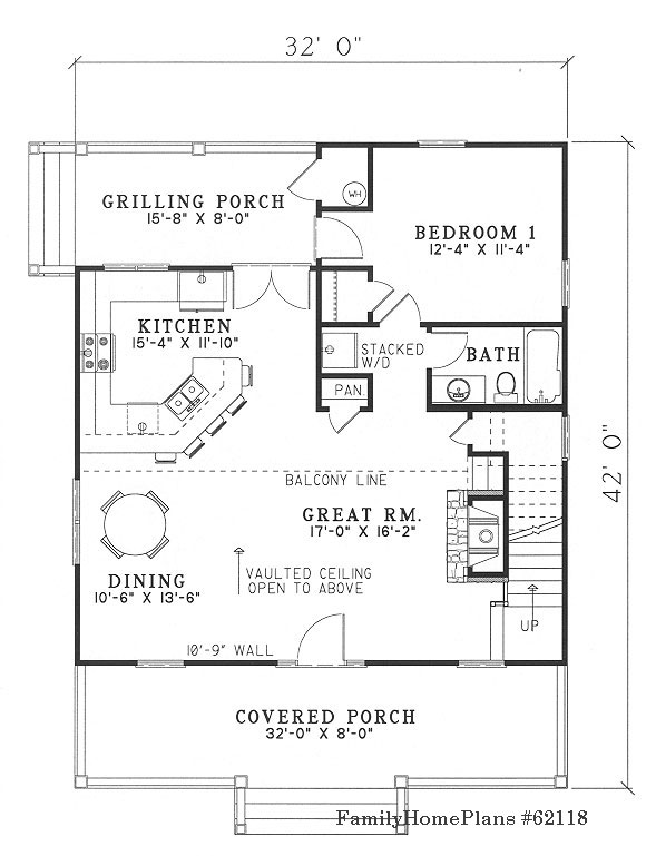 small cottage floor plan with grilling porch and open concept
