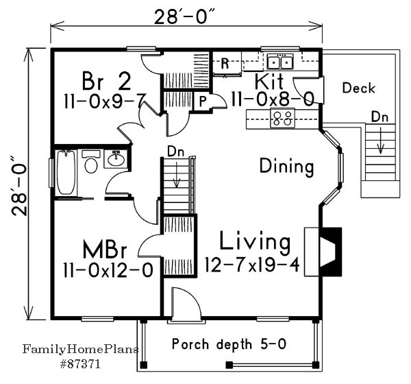 cottage floor plan with nice size rooms and fireplace