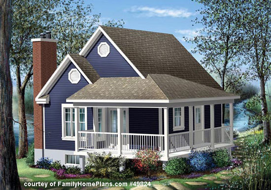 small cottage with porch from FamilyHomePlans.com #49824