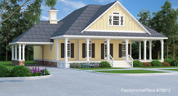 cottage home plan with wrap around front porch from Family Home Plans