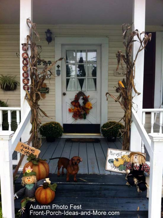 Charlene's country porch decorated for autumn
