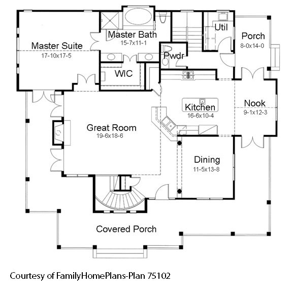 country home with porch schematic from plan by familyhomeplans.com
