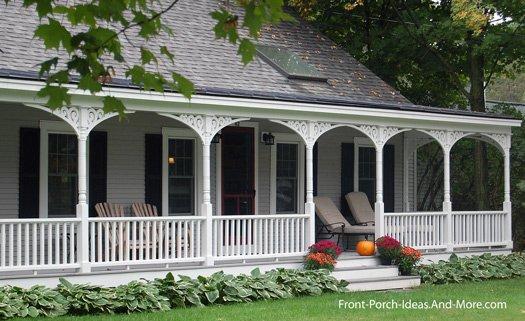 country porch adorned with exterior house trim