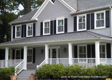 attractive gray front porch and home