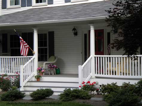 simple but pleasing front porch with American flag