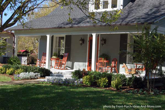 Open country porch with rocking chairs